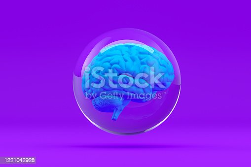 810397364 istock photo Brain in Glass Sphere, Artificial Intelligence Concept 1221042928