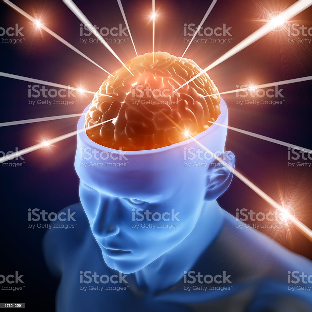 Brain in head receiving rays of information royalty-free stock photo