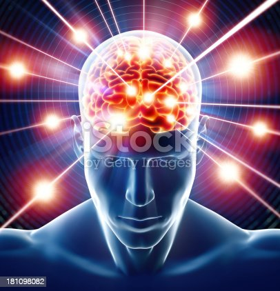 Brain In Head Receiving Rays Of Information Stock Photo More