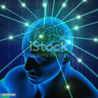 istock Brain in head with hi-tech cyber theme 469564565