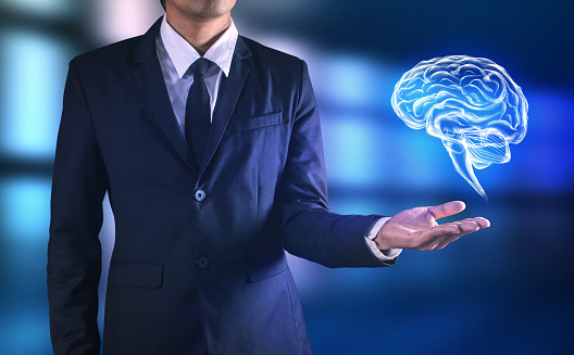 Brain In Man Hand Stock Photo - Download Image Now