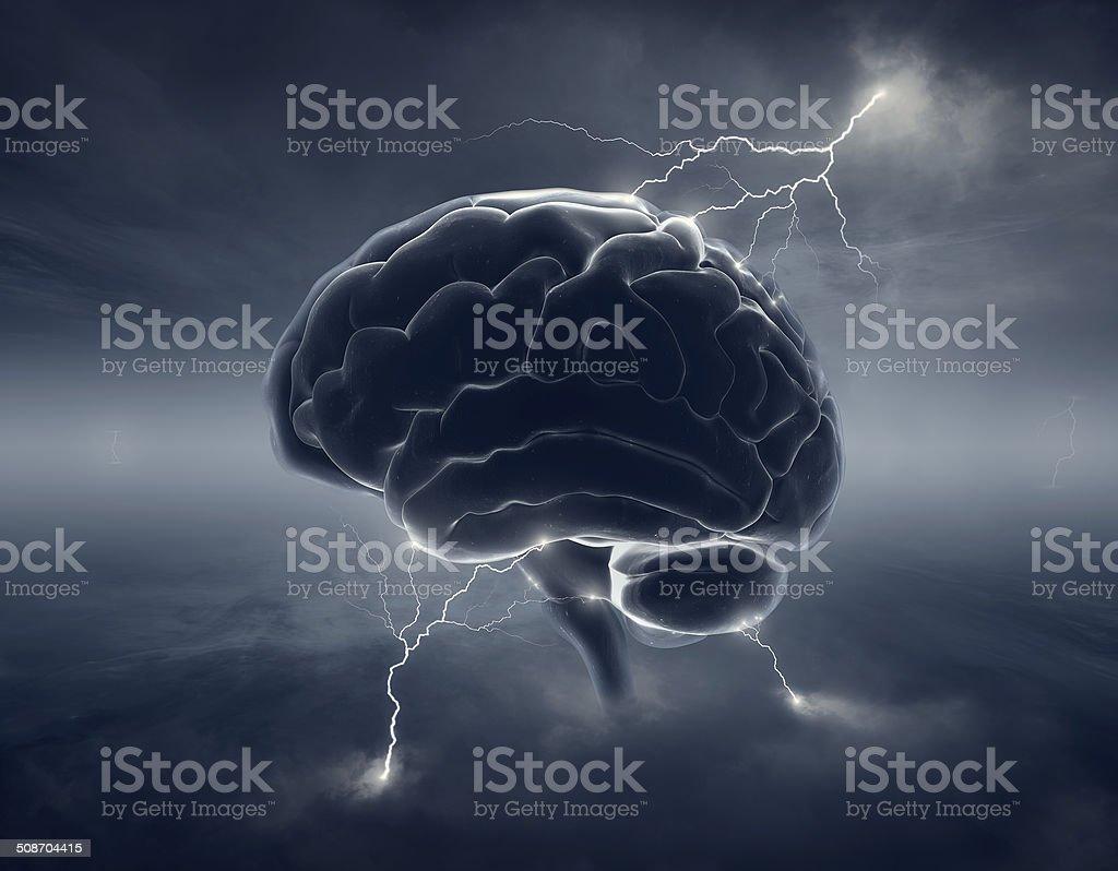 Brain in stormy clouds - conceptual brainstorm foto