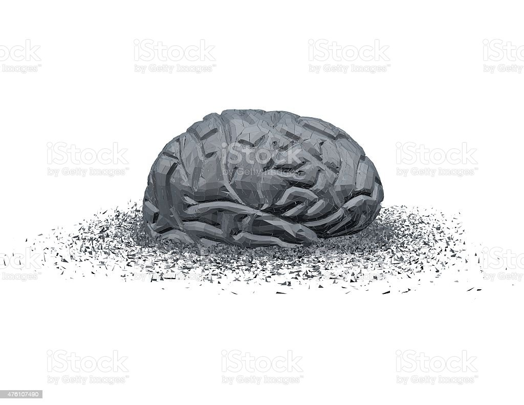 Brain injury and disease abstract concept with 3d brain shattered. stock photo