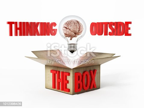 istock Brain inside lightbulb coming out the cardboard box. Thinking out of the box concept 1012398426