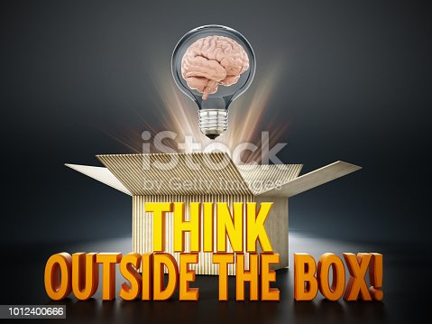 istock Brain inside lightbulb coming out the cardboard box. Thinking out of the box concept 1012400666