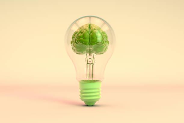 Brain inside the light bulb, Creative Idea Concept - foto stock