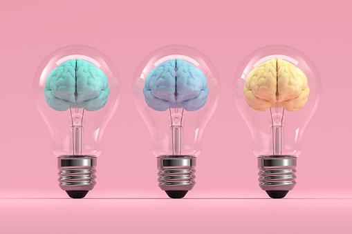 Brain inside the light bulb, Creative Idea Concept