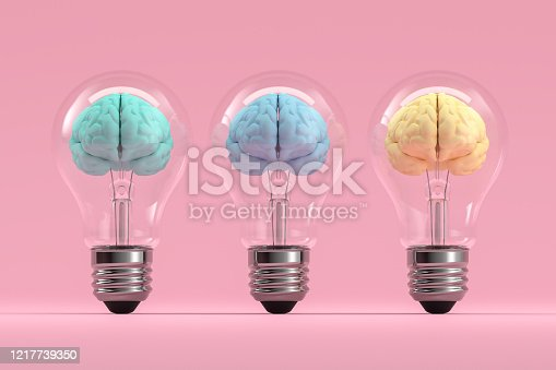 3d rendering of brain inside the light bulb, Creative Idea concept. Brainstorming.