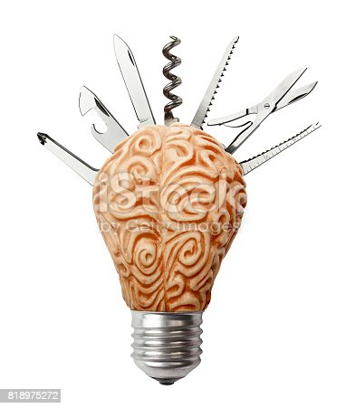 637573406 istock photo Brain Lamp with a Work Tool 818975272