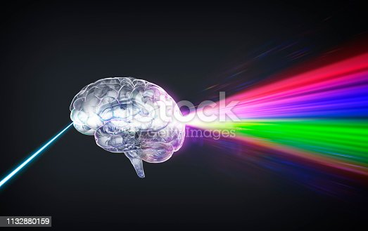 Brain projection light beam passing through forming prism rainbow effect. Concept image has many application from subjects as imagination, fantasy, unleash the power, brainstorming, getting an idea or concept medical image…