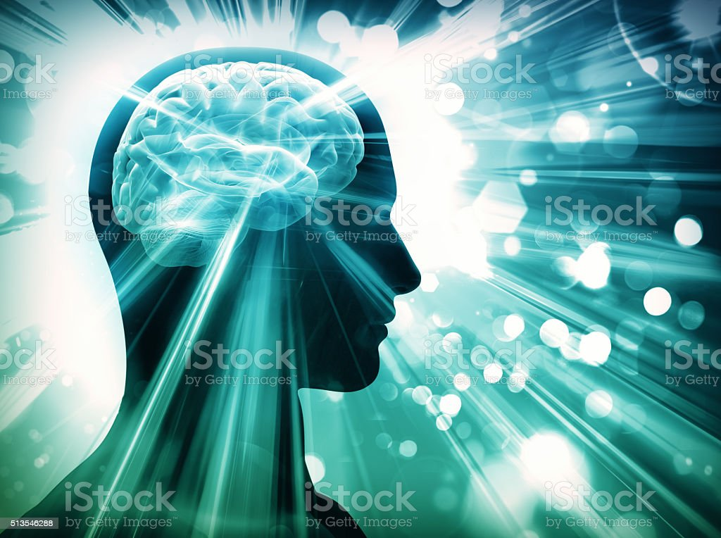 brain, lights, concept stock photo