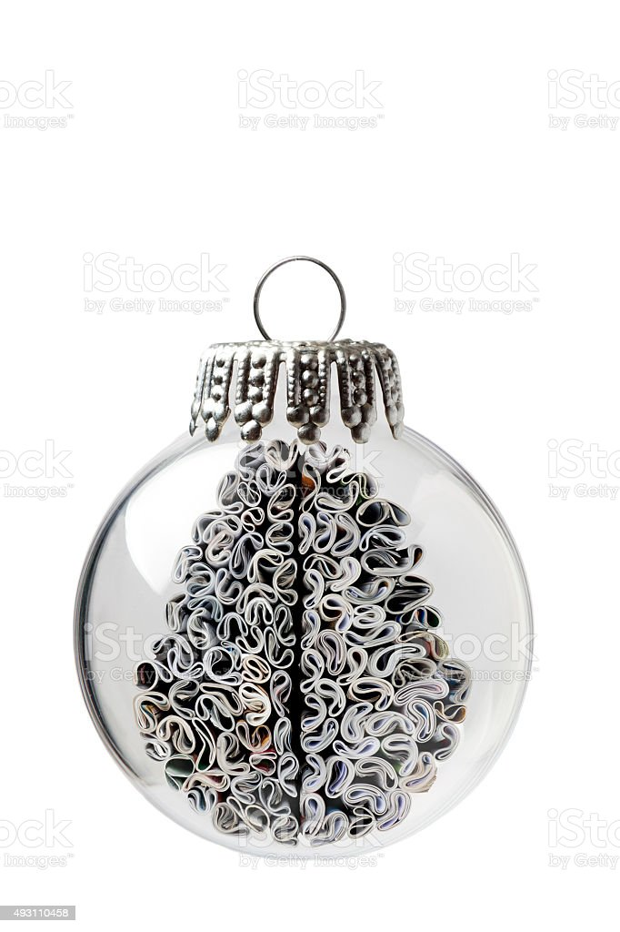 Brain made of Magazines In a Christmas Ornament stock photo
