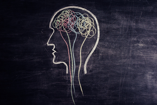 istock Brain made of multicolored lines drawn on chalkboard 1173478242