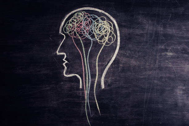 Brain made of multicolored lines drawn on chalkboard stock photo