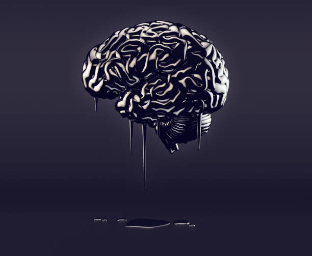 Brain made of oil stock photo
