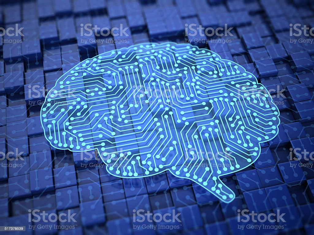 Brain made out of circuits like artificial Intelligence stock photo