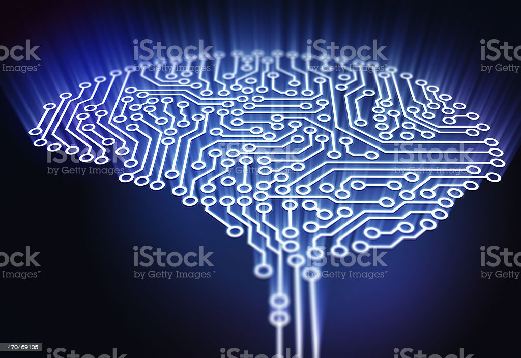 Brain made out of circuits royalty-free stock photo