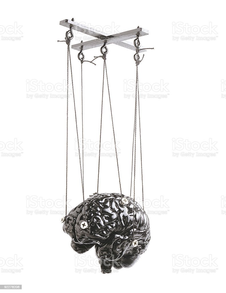 Brain Marionette isolated stock photo