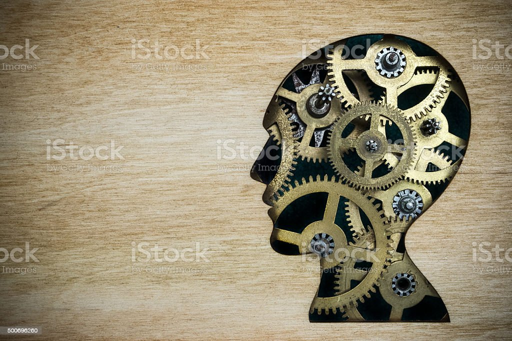 Brain model made from rusty metal gears stock photo