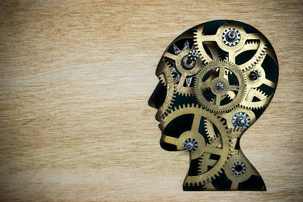 Brain model made from rusty metal gears stock photo