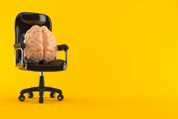 Brain on business chair - foto stock