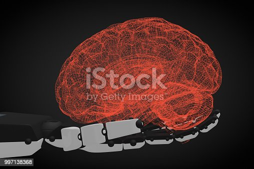 810397364 istock photo Brain on Robot Hand, Artificial Intelligence Concept 997138368