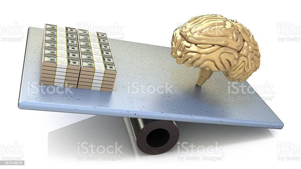 Brain price. intelligence outweighs the money stock photo