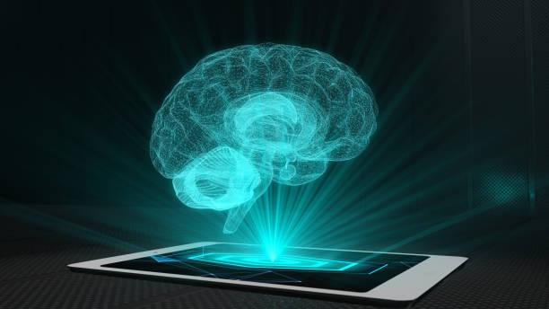 脳投影未来ホログラフィックディス プレイ電話タブレット ホログラム技術 - ホログラム ストックフォトと画像