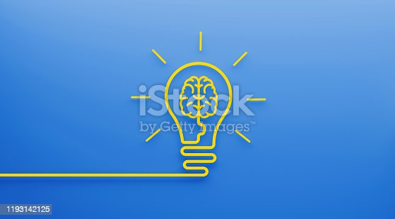 Yellow brain shape inside a lightbulb on blue background. Horizontal composition with copy space. Technology and innovation concept.