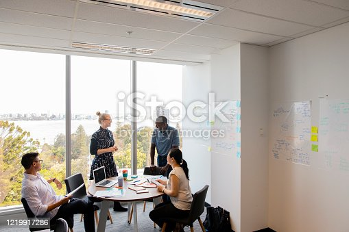 A diverse group of work colleagues having a meeting around  a desk with lots of inspiration/notes on the charts on the walls. Behind them are large glass windows showing the city scape of Perth.
