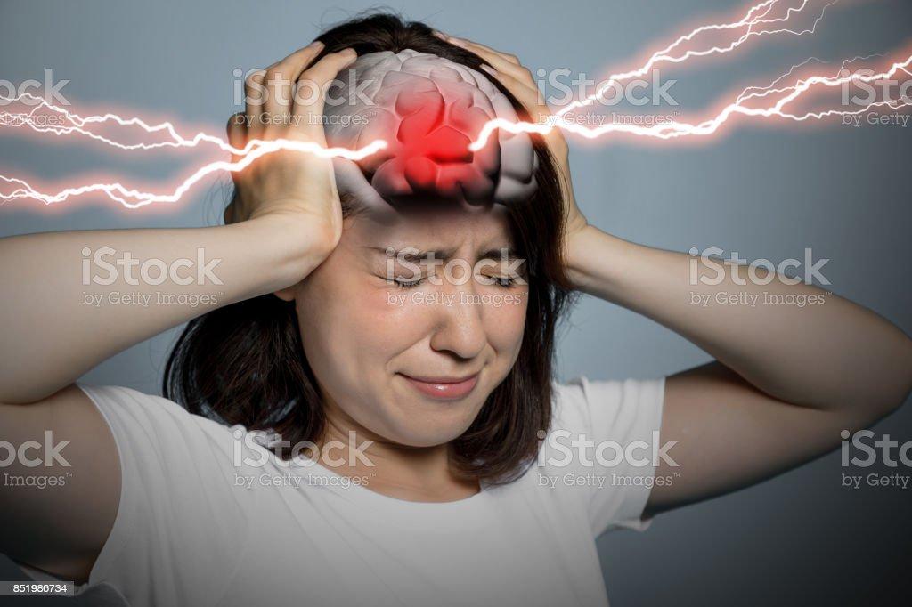 hjärnan stroke koncept, huvudvärk, hjärnblödning, 3D-rendering bildbanksfoto