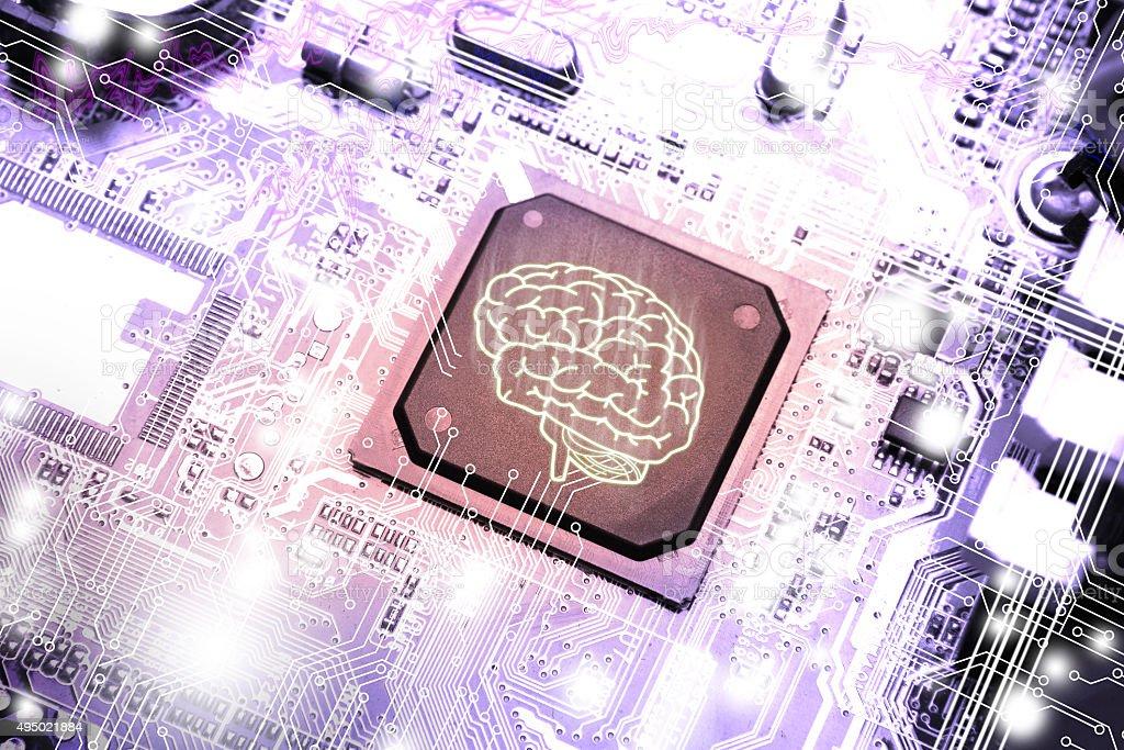 Gehirn-symbol auf der circuit board – Foto