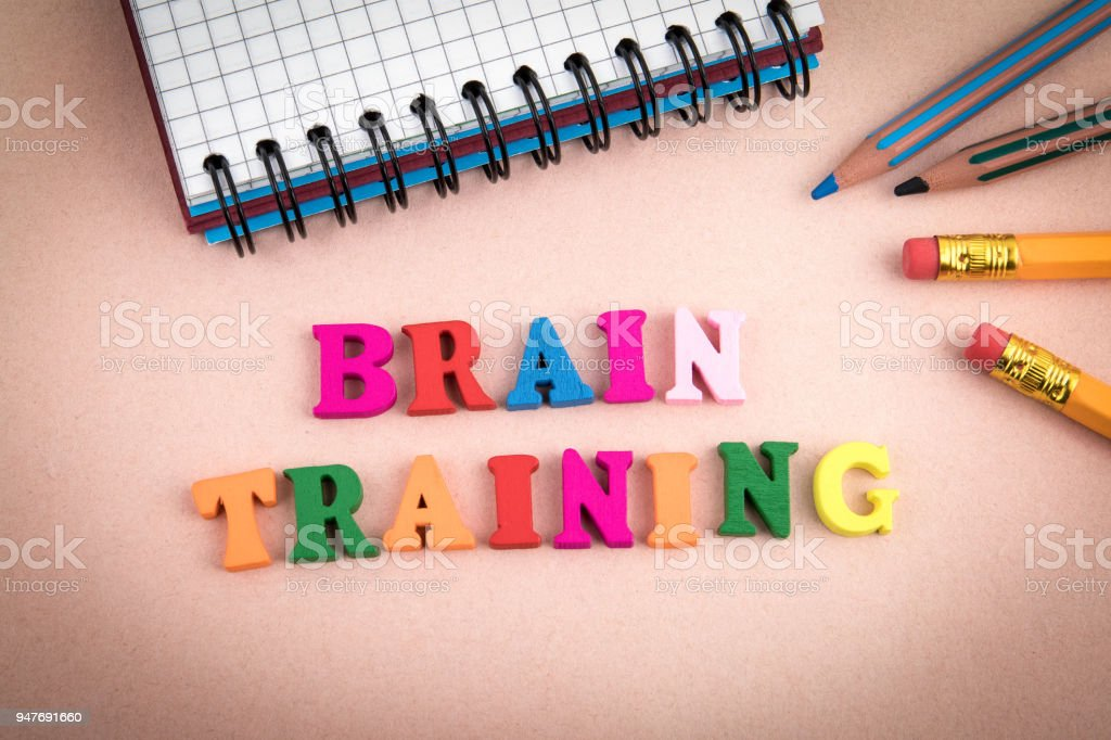 Brain Training. Wooden letters on the office desk stock photo