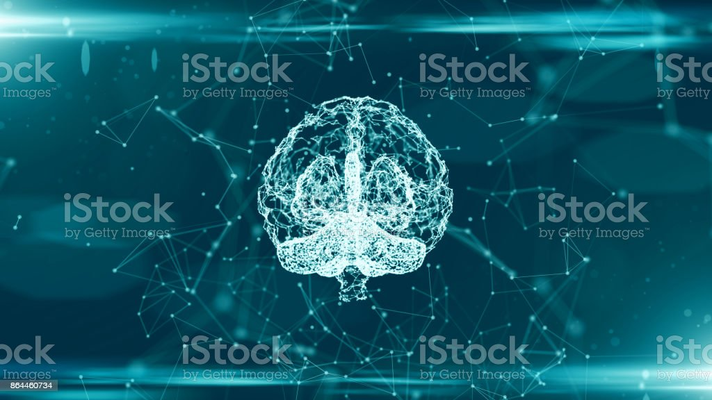 Brain used for thinking artificial intelligence neural network - foto stock