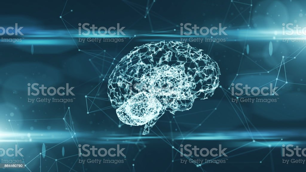 Brain used for thinking artificial intelligence neural network stock photo