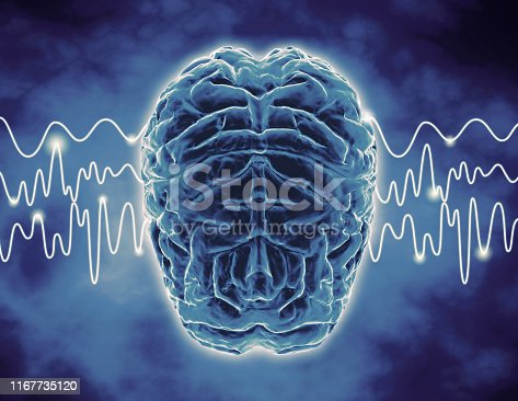 Brain waves, thoughts, meditation, relax concept illustration.