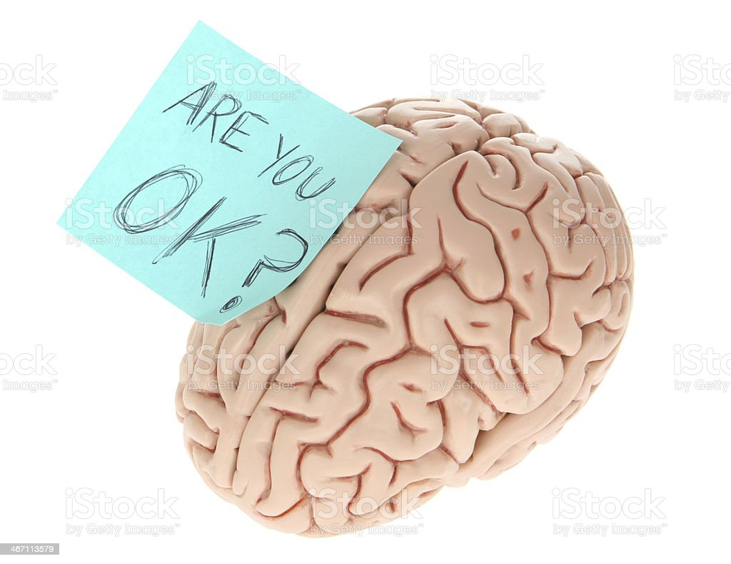 Brain with Are you OK message? royalty-free stock photo