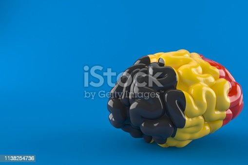 Brain with belgian flag isolated on blue background. 3d illustration