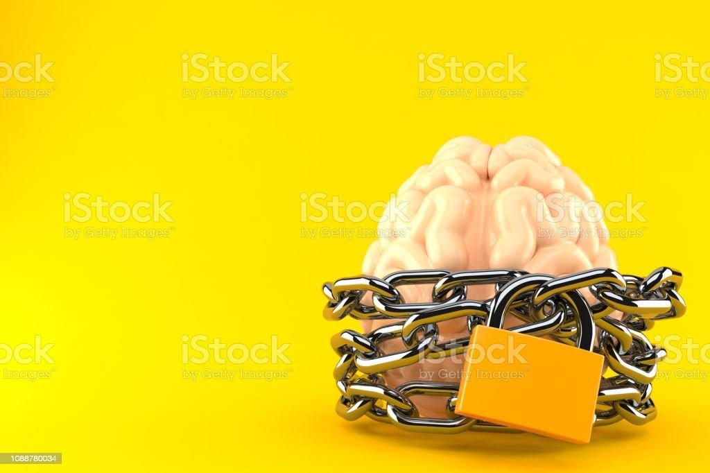 Brain with chain and padlock stock photo