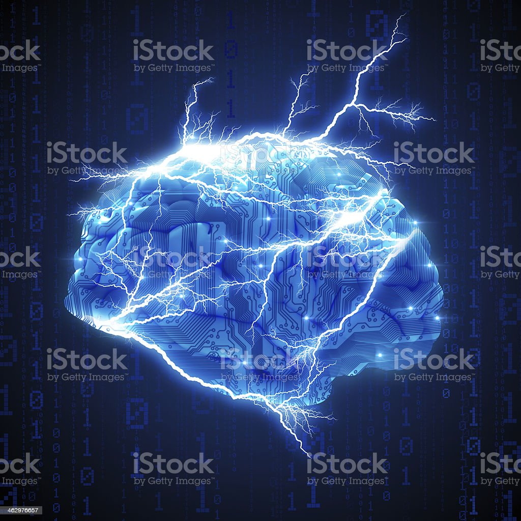 Brain with circuits and electricity stock photo