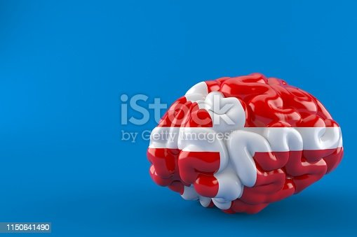 Brain with danish flag isolated on blue background. 3d illustration