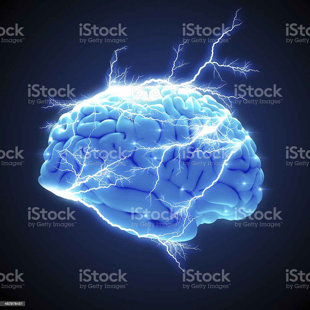 Brain with electricity stock photo