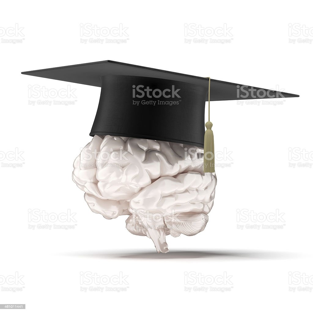 brain with graduation hat royalty-free stock photo