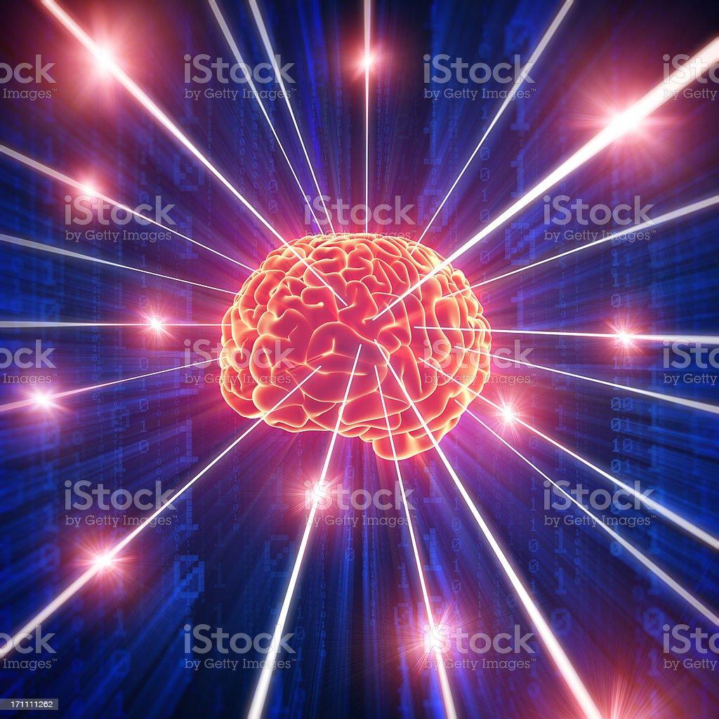 Brain with hi-tech cyber theme royalty-free stock photo