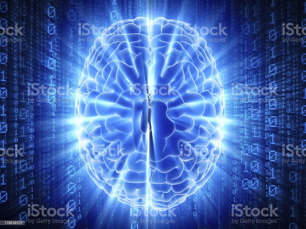 Brain with hi-tech cyber theme stock photo