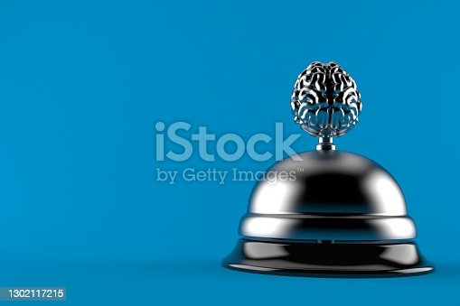 Brain with hotel bell isolated on blue background. 3d illustration