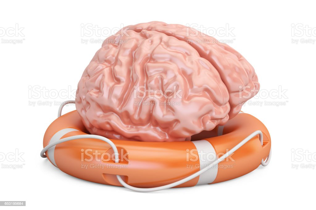 Brain with lifebuoy, 3D rendering isolated on white background stock photo