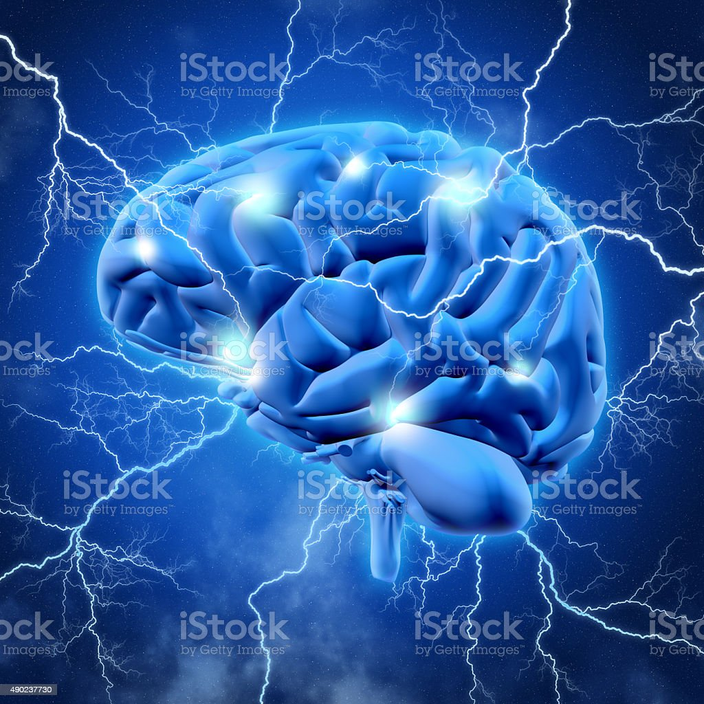 3D brain with lightening stock photo