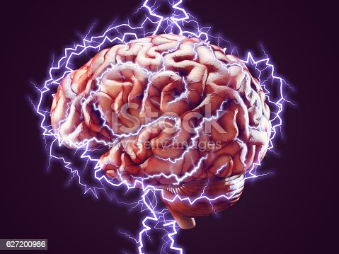 istock Brain with lightnings, brainstorm concept 627200986