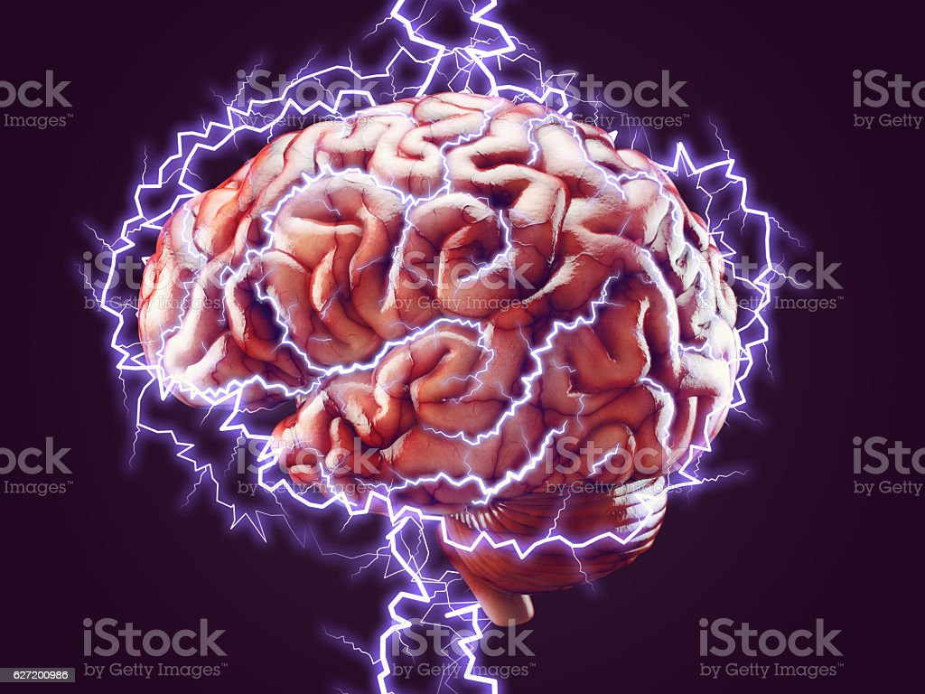 Brain with lightnings, brainstorm concept stock photo